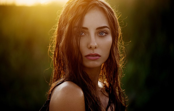 Картинка girl, long hair, photo, sunset, photographer, blue eyes, model, lips, face, brunette, Natasha, portrait, profile, …