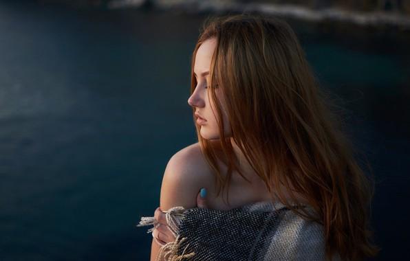 Картинка девушка, лицо, река, волосы, Сергей Папиженко