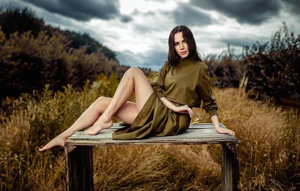 Картинка трава, взгляд, облака, природа, секси, поза, модель, портрет, босиком, макияж, платье, прическа, шатенка, ножки, красотка, …