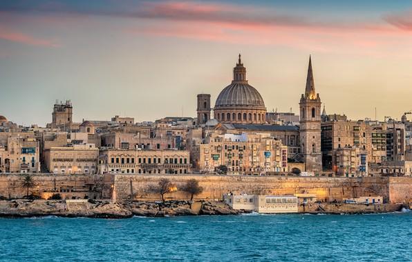Картинка море, здания, вечер, Мальта, Валетта
