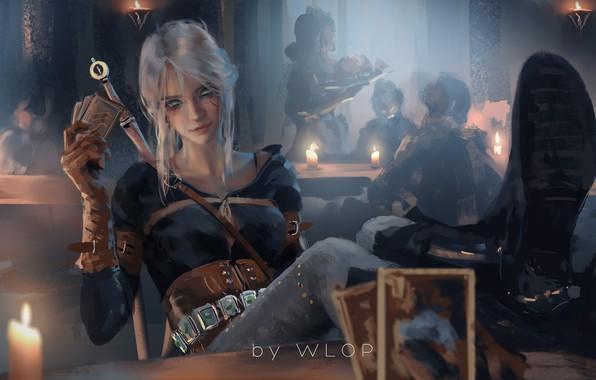 Картинка girl, sword, fantasy, game, green eyes, weapon, digital art, artwork, table, warrior, candle, fantasy art, …