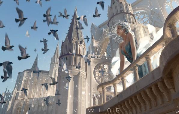 Картинка девушка, птицы, здание, фэнтези, арт, голуби, башни, балкон, эльфийка, иллюстрация