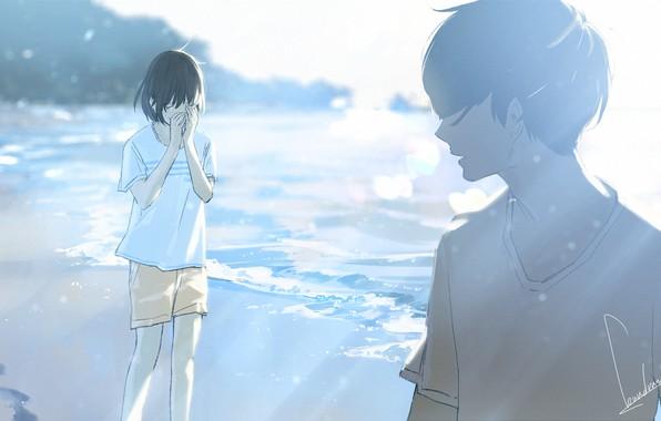 Картинка лето, шорты, футболка, слёзы, лучи света, art, расставание, челка, берег моря, парень с девушкой, Loundraw