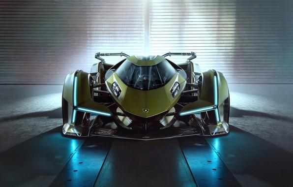 Картинка Lamborghini, Фары, Концепт-кар, Lambo, V12, Значок, Vision Gran Turismo, 2019, Lambo V12 Vision
