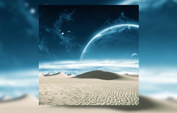 Картинка песок, космос, звезды, пейзаж, вселенная, пустыня, планета, галактика, space, universe, desert, stars, sand, planet, galaxy