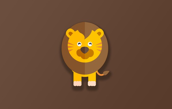 Картинка minimalism, Lion, animal, funny, digital art, artwork, cute, simple background, feline