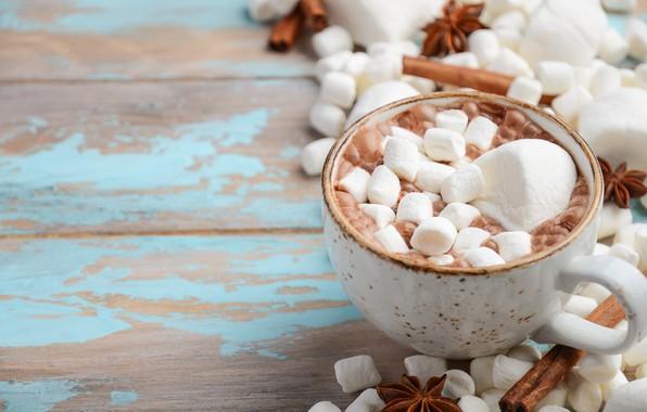 Картинка Новый Год, Рождество, кружка, Christmas, cup, New Year, какао, decoration, xmas, Merry, hot chocolate, marshmallow, …