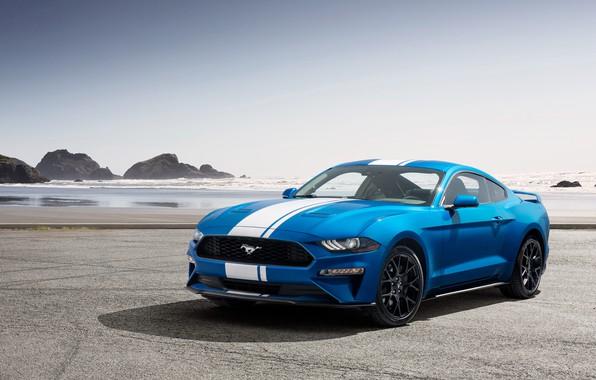 Картинка побережье, Mustang, Ford, EcoBoost, 2019, Performance Pack