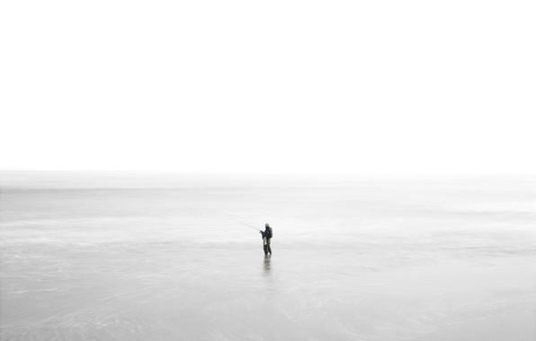 Картинка море, природа, рыбак