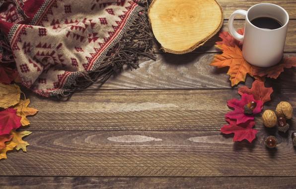 Картинка осень, листья, фон, дерево, кофе, colorful, шарф, чашка, wood, background, autumn, leaves, cup, coffee, осенние, …