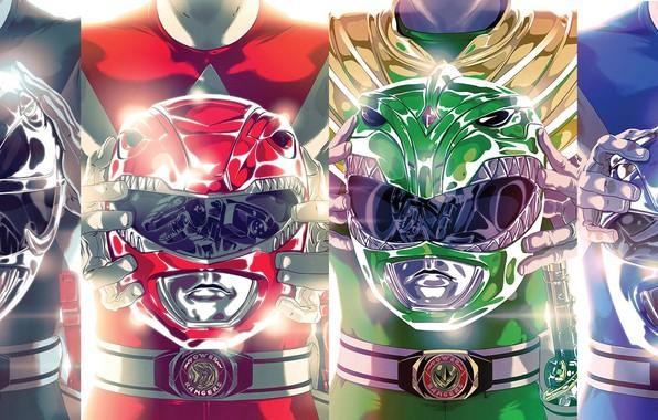 Картинка green, шлем, red, black, yellow, blue, pink, team, heroes, power rangers