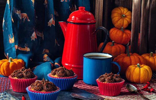 Картинка чайник, кружка, тыквы, натюрморт, ящик, кексы, кофейник