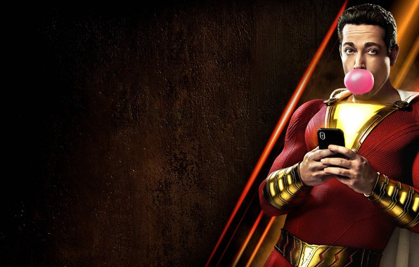 Картинка герой, костюм, телефон, пузырь, смартфон, hero, жвачка, DC comics, Шазам, shazam, DC, 2019, Билли Бэтсон, …