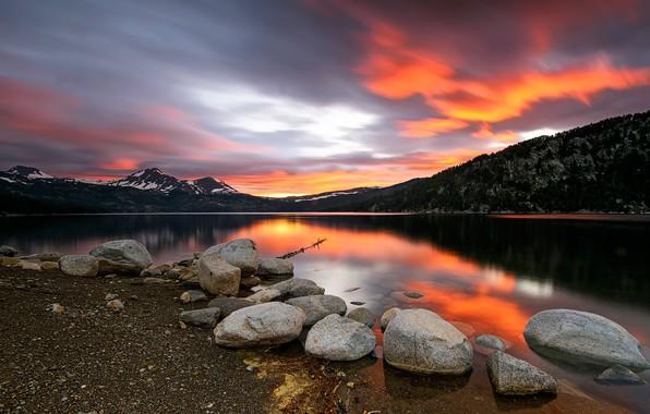 Фото обои закат, горы, река