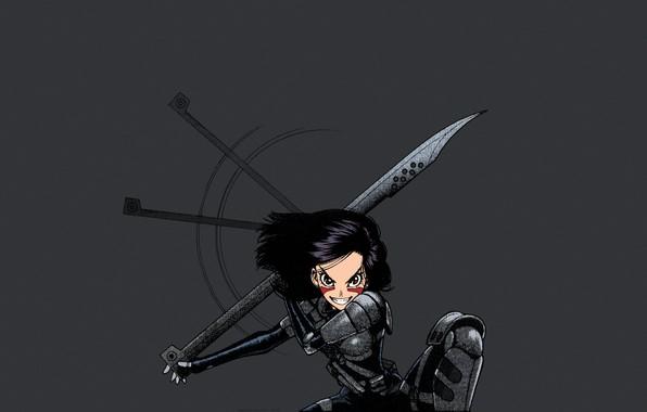 Картинка girl, minimalism, anime, weapons, artwork, warrior, manga, cyborg, dark hair, simple background, anime girl, grey …