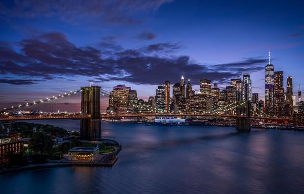 Картинка Нью-Йорк, США, Brooklyn Bridge, Ист-Ривер