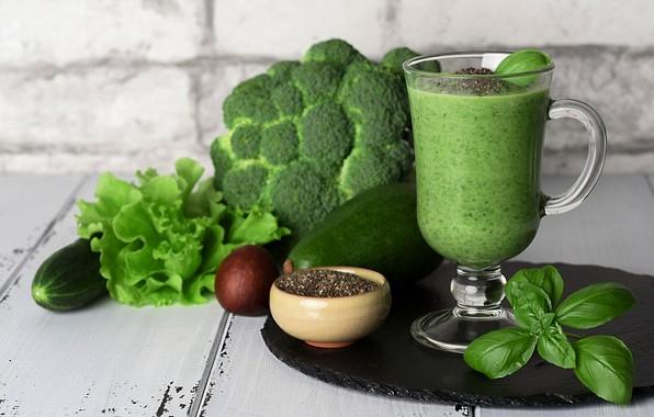 Картинка зелень, кружка, коктейль, овощи