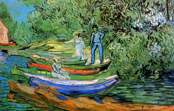 Картинка Vincent van Gogh, Auvers sur Oise, Bank of the Oise at Auvers