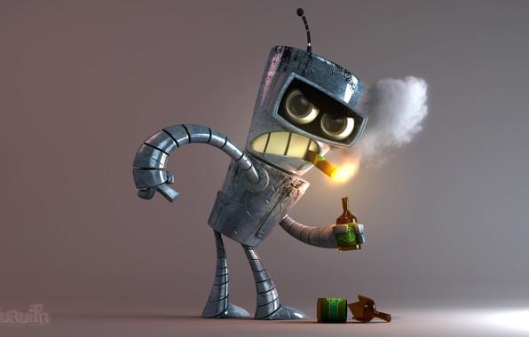 Картинка монстр, Futurama, выпивка, железный человек, Bender, злобный взгляд, курит сигару