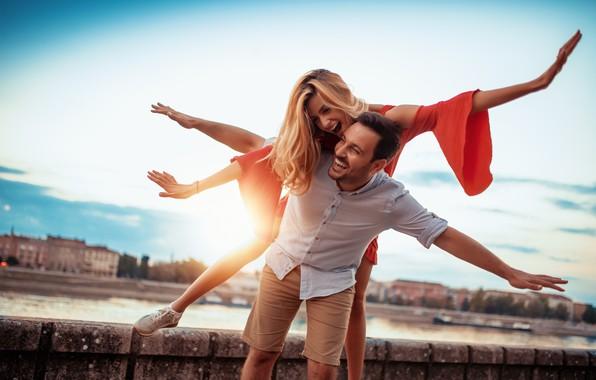 Картинка девушка, любовь, радость, счастье, настроения, чувства, парень, влюбленные