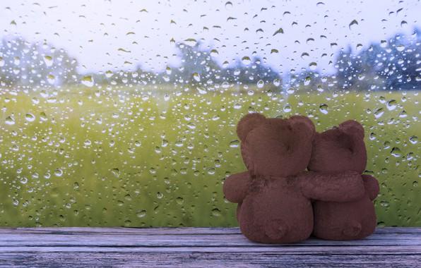 Картинка стекло, капли, любовь, дождь, мишка, пара, love, rain, bear, romantic, couple, window, teddy, drops, cute
