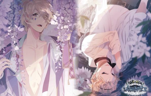 Картинка вода, парни, братья, art, блондин, солнечный свет, белая рубашка, глициния, Sacrifice, Okazaki Oka, Yuki Serikawa, …