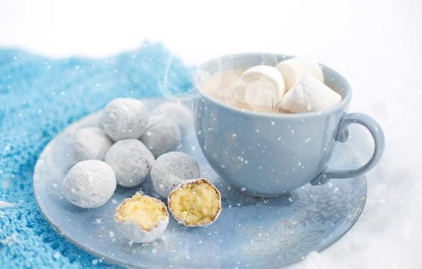 Картинка зима, макро, снег, уют, кружка, десерт, winter, snow, macro, cup, сладкое, sweet, dessert, горячий шоколад, …