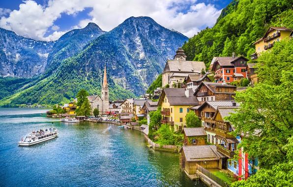 Картинка горы, озеро, корабль, дома, Австрия, Hallstatt, Хальштатт