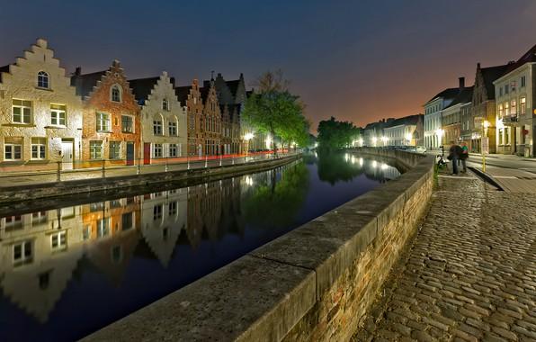 Картинка огни, вечер, Бельгия, Брюгге
