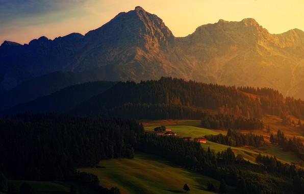 Фото обои лес, пейзаж, закат, горы, природа, поля, высота, вечер, ели, деревня, Альпы, домики, ярко, луга, поселение, ...