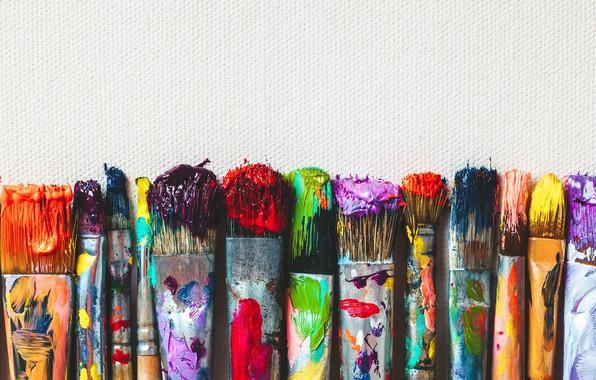 Картинка цвета, бумага, краски, кисти
