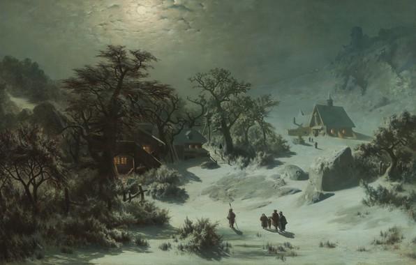 Картинка 1857, oil on canvas, чешский живописец, National Gallery in Prague, Национальная галерея в Праге, Winter …