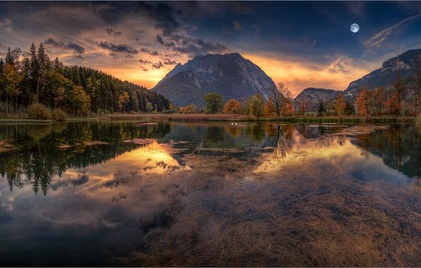 Картинка осень, лес, небо, закат, горы, озеро, отражение, луна, Friedrich Beren