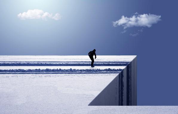 Картинка небо, человек, лёд
