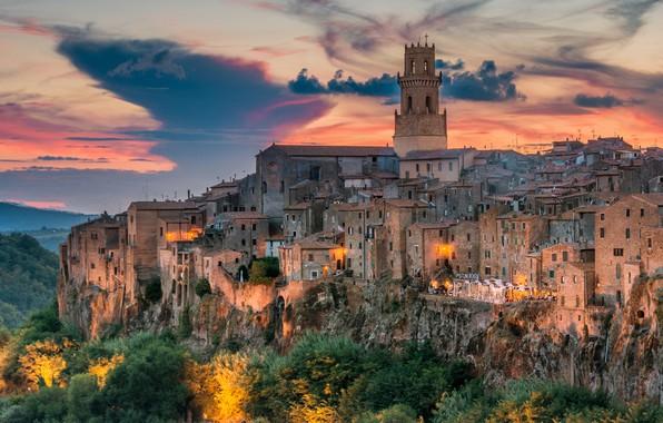 Картинка закат, здания, дома, Италия, Italy, Тоскана, Tuscany, Питильяно, Pitigliano