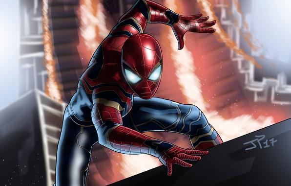 Картинка фантастика, арт, костюм, супергерой, комикс, Человек-паук, MARVEL, Spider-Man, Infinity War