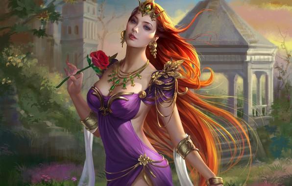 Картинка взгляд, девушка, страсть, волосы, роза, фигура, платье, рыжая
