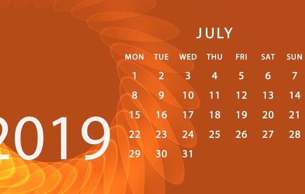 Картинка календарь, июль, 2019