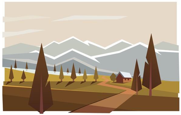 Картинка горы, дом, Лес, иллюстрация