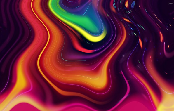 Картинка волны, яркие краски, абстракция, лава, waves, abstraction, lava, bright colors, смесь цветов, mix of colors