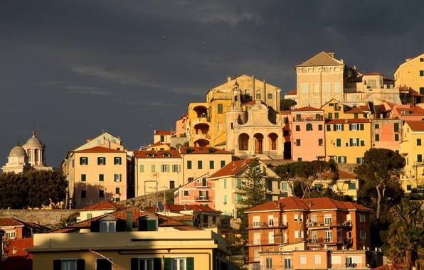 Картинка небо, солнце, деревья, тучи, дома, Italy, Liguria, Imperia Porto Maurizio