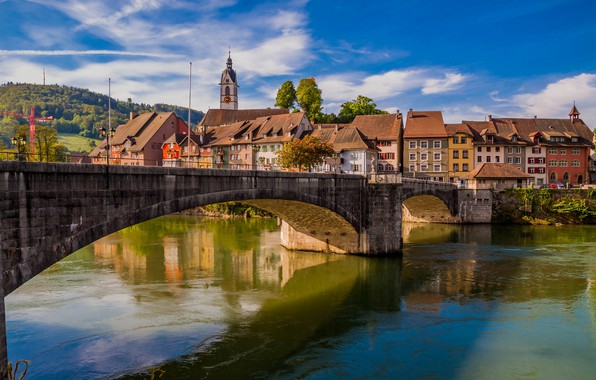 Картинка мост, река, здания, дома, Германия, Germany, Баден-Вюртемберг, Baden-Württemberg, Rhine River, Река Рейн, Лауфенбург, Laufenburg