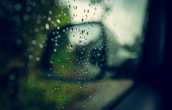 Картинка машина, капли, макро, дождь, зеркало, капли дождя