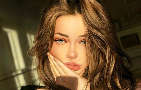 Картинка лицо, рука, шатенка, губки, длинные волосы, art, портрет девушки, Jinsung Lim