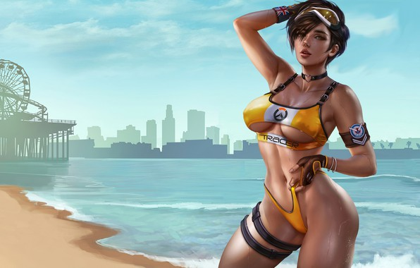 Картинка girl, game, anime, art, beautiful, digital art, cute, gta, bikini, tracer, overwatch