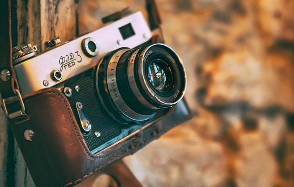 Картинка камера, фотоаппарат, боке, ФЭД-3