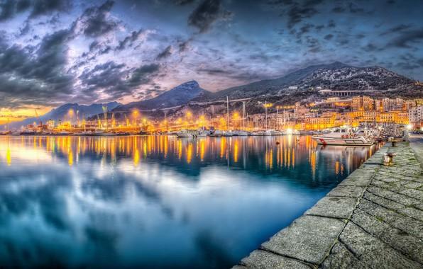 Картинка twilight, Salerno, Commercial port