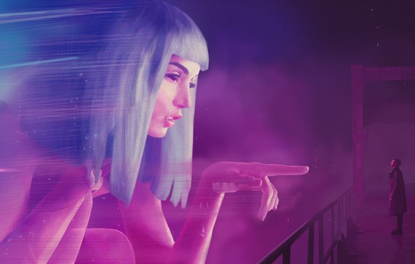 Картинка Город, Неон, Арт, Фильм, Фантастика, Голограмма, Blade Runner, Бегущий по лезвию, Key, Blade Runner 2049, ...