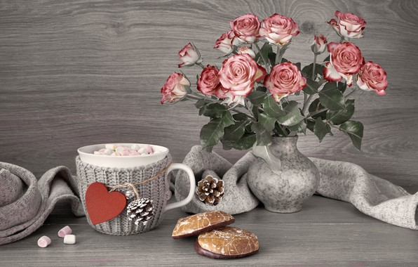 Картинка цветы, горячий, шоколад, печенье, чашка, ваза