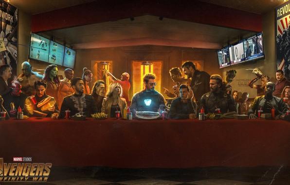 Картинка стол, фантастика, Scarlett Johansson, Vision, постер, застолье, персонажи, Nebula, Iron Man, комикс, Falcon, Captain America, …
